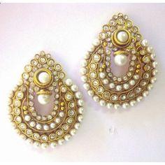 Beautiful White Pearl Polki Earrings