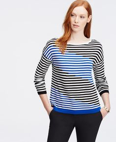 In slim nautical stripes, this soft knit commands a perfectly slouchy-yet-put-together finish. Ribbed neckline, cuffs and hem. Ombre Sweater, Nautical Stripes, Victoria, Slouchy Sweater, Coat, Cold Weather, Ann Taylor, Slim, Knitting
