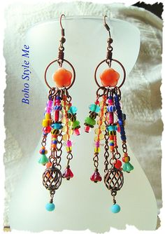 Boho Colorful Fun Earrings Bohemian Dangle Modern Style Jewelry