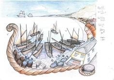 Panel 6. Coloured Illustration Designs for Minehead Harbour Project, depicting the rich and varied history of Minehead Harbour, Somerset, UK