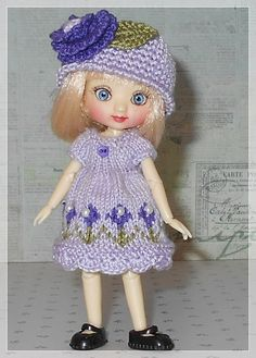 Amelia Thimble Dolls Lavender and Purple Flower Dress and Hat by JCsTinyTreasures on Etsy