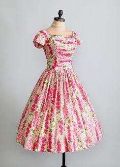 vintage pink dresses   Vintage 1950s Pink Floral Garden Party Dress