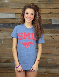 Cheer for you Southern Methodist University Mustangs at every event in this new SMU t-shirt! Show your love for your favorite school! Go Mustangs