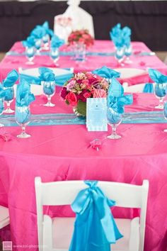 blue and pink wedding reception