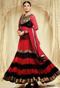 USD 134.42 Red Faux Georgette Sushmita Sen Designer Bollywood Anarkali Style Suit 27616