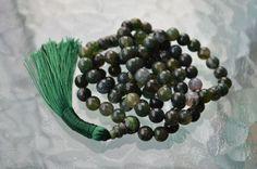 Heart Chakra Green Moss Agate Mala 8mm 108 Bead Necklace Unconditional love Unde  | eBay