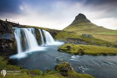 Kirkjuvell mountain and waterfall on the Snaefellsnes Peninsula in Iceland