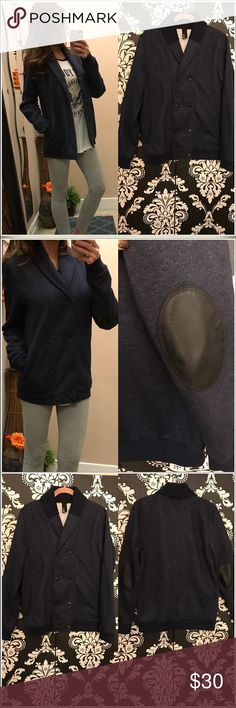 ✨H&M cardigan sweatshirt Heather blue/navy/faux black leather elbow patches. Shawl collar double breasted snaps. Size M. Perfect/new condition H&M Tops Sweatshirts & Hoodies