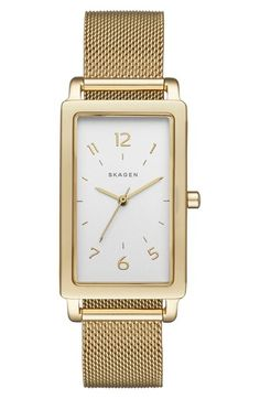 Free shipping and returns on Skagen 'Hagen' Rectangle Mesh Strap Watch, 22mm x 43mm at Nordstrom.com. Short stick indexes and elongated hands style the clean, easy-to-read dial of a streamlined rectangular watch complemented with a fine mesh or leather strap.