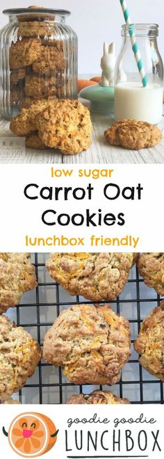 Delicious, low sugar Carrot Oat Cookies. Carrot Oat Cookies are a great way to serve extra vegetables in the lunchbox and they're totally kid approved. #carrotoatcookies #cookies #lunchboxbaking #sneakyveggies via @goodielunchbox