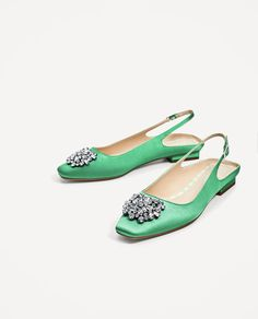 Image 4 of FLAT SLINGBACK SHOES WITH BEADED APPLIQUÉ from Zara