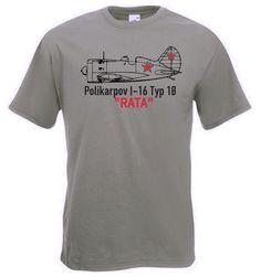 T-Shirt Polikarpov I-16 Rata Typ 18 Sowjet Flugzeug in Farbe oliv / mehr Infos auf: www.Guntia-Militaria-Shop.de