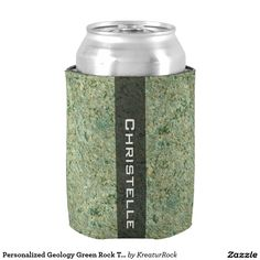 Personalized Geology Green Rock Texture with Name Can Cooler