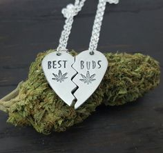 Best Buds Broken Heart Necklace Set, Handmade by The Toke Shop, $20, 420 Jewelry, Cannabis Jewelry, Weed Jewelry, Marijuana Jewelry