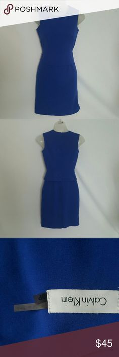 "Calvin Klein | royal blue sleeveless Calvin Klein | royal blue sleeveless| peplum  dress| size 0p| hidden zipper|  lined | 63% polyester | 33% Rayon| 4% spandex | lay flat measurements length 34"", chest 16"" 