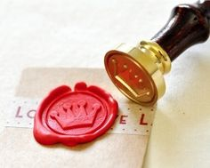 Crown Gold Plated Wax Seal Stamp & Sealing Wax, use on sealed envelope invites with the letter B?