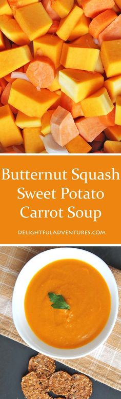 A simple, easy recipe for slow cooker vegan butternut squash sweet potato carrot soup. Perfect to have during fall or on a cold winter's day. *no syrup add an apple* Slow Cooker Recipes, Soup Recipes, Vegetarian Recipes, Cooking Recipes, Healthy Recipes, Easy Recipes, Dinner Recipes, Crockpot Ideas, Shrimp Recipes