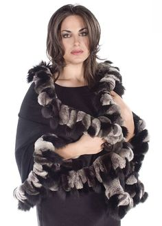 Black Cashmere Wrap-chinchilla Rex Fox Poncho/Cape Size 16 (XL, Plus Real Fur Vest, Chinchilla Coat, Coat Outfit, Dinner Suit, Cashmere Cape, Simple Wardrobe, Wool Blend, Fox Fur, Plus Size