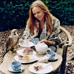 stella mccartney...having high tea with a hawk...I think I'd really like her!