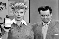 "Lucy rehearses for the Vitameatavegemin commercial  against Ricky's approval on the funniest episode of ""I Love Lucy"". Notice Desi trying to keep a straight face watching Lucy."