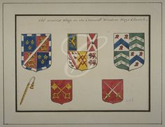 Collage:  Five coats of arms from the stained glass in the chancel window of St Mary in Hayes, Middlesex;  c1820, watercolour Support	paper Longest Dimension	20cms Section	London Metropolitan Archives Collection	Wakefield Collection Location	W.V HAY Catalogue No	k1256109
