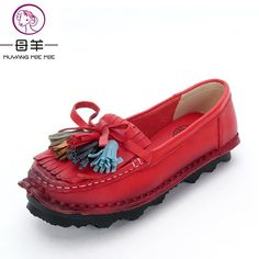 MUYANG MIE MIE Women Shoes 2017 Fashion Genuine Leather Flat Shoes Woman Fringe casual shoes soft outsole Moccasins women flats
