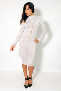 (aly) Crossed on back mock neck midi gray dress