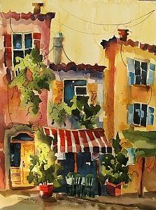 "Salon de The III by Jinnie May Watercolor ~ 30"" x 22"""
