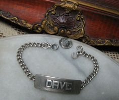 ANTIQUE STERLING SILVER HEAVY RARE ID SIGNET BRACELET for NAME DAVE by TEMMING | eBay