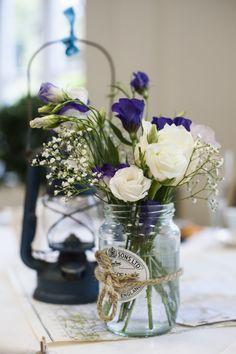 Jar Flowers Twine Vintage Cornflower Blue Wedding http://eleanorjaneweddings.co.uk/