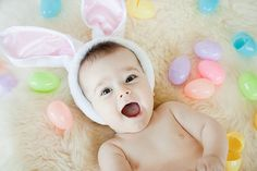 its easy to set up this scene for baby's first easter picture