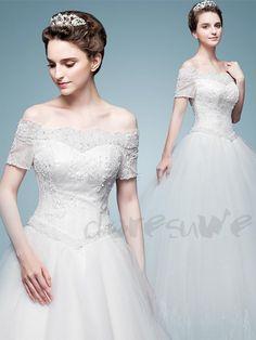 オフショルダー ウェディングドレス 結婚式服装 花嫁プリンセス ドレス  12670020 - 2017 ウェディングドレス - Doresuwe.Com