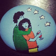 #painting #stones #drawing #lovers #watching #stars #and #drinking #wine #joy #of #life