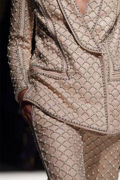Blush pink pearl Embellished blazer trouser suit - Balmain