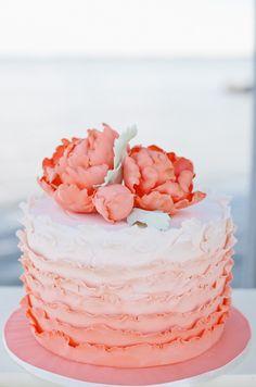 Peach ombre ruffles cake