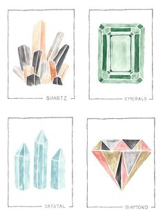 set of four prints.  gemstones: quartz, emerald, crystal, diamond.  printed on 8x11 cardstock.