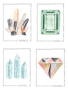 watercolor gemstone print