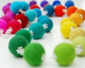 Rainbow Bubbles - A spectacular necklace made from a spectrum of hand felted beads
