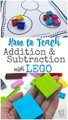 Using LEGO Bricks is a fun, hands on way to introduce and practice addition and subtraction with your kids! This post outlines lots of different examples of ways to explore and play math with LEGO. Your kids will be begging to do math! Teaching Subtraction, Subtraction Activities, Lego Activities, Math Resources, Teaching Math, Teaching Tips, Steam Activities, Homeschooling Resources, Teaching Addition