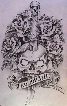 Do or Die by nsanenl on DeviantArt – skull tattoo sleeve Skull Tattoo Design, Tattoo Design Drawings, Pencil Art Drawings, Skull Tattoos, Body Art Tattoos, Drawing Sketches, Sleeve Tattoos, Tattoo Designs, Skull Drawings