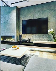 Inspiring Modern Wall Texture Design for Home Interior is part of Inspiring Modern Wall Texture Design For Home Interior Modern interior decoration designs can help you fully remodel your home w - Living Room Tv, Living Room With Fireplace, Home And Living, Interior Design Living Room, Modern Interior, Living Room Designs, Interior Livingroom, Modern Fireplace, Fireplace Design