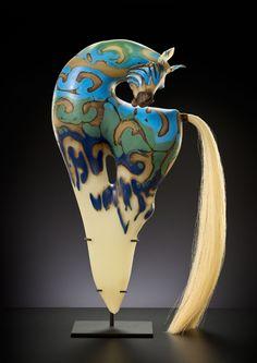 Cerulean Dagger Horse, 2013 | Shelley Muzylowski Allen | Blown & Hand-Sculpted Glass, Horsehair, Leather, Steel | Photo by KP-Studios.com