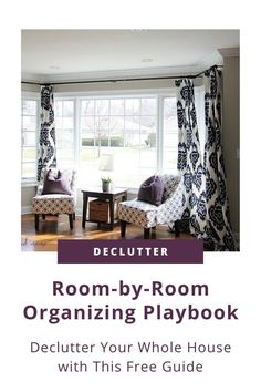 In this free printable playbook, I break down all the steps that I recommend to clients when they want to do a whole-house decluttering session! You'll learn how to sort and store items in every room of your house including your office, kitchen, bedroom, mudroom, living spaces, and more. Click to get yours right now! #organizing #decluttering