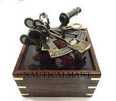 NAUTICAL GERMAN MARINE BRASS SEXTANT WITH ANTIQUE WORKING VINTAGE WOODEN BOX