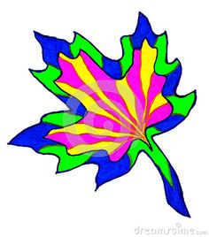 A colourful marker pen sketch of a Maple leaf shape.