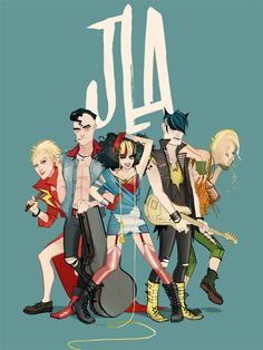 The piece of geek art you see above was created by Annie Wu, and it was created for a remake/remodel challenge on Warren Ellis's Whitechaple. She took the Justice League and turned then into a punk rock band. Manga Comics, Dc Comics, Batman, Superman, Punk Rock, Comic Books Art, Comic Art, Marvel Dc, The Wicked The Divine