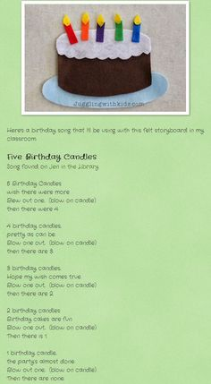 The Secret to Cutting Felt & Making Felt Storyboards for Preschoolers Birthday Candy, Birthday Songs, 5th Birthday, Preschool Birthday, Preschool Kindergarten, Early Childhood Education, The Secret, Candles, Ideas