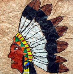 http://www.artsonia.com/museum/art.asp?id=728398=33973=y  We observed several examples of Native American chiefs, their headdresses, and their facial features. Then we developed our own drawings, and colored in with a heavy layer of crayon. Crumpling and painting over our drawings created an old, worn look that makes these projects extra unique.