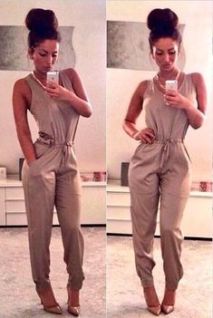 Cute jumpsuit!  Perfect for her body shape! Women's fall fashion clothing outfit for dates going out