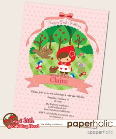 Sweet Little Red Riding Hood Printable Birthday Invitation - personalized PDF. $10.00, via Etsy.